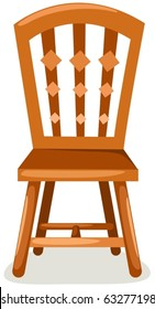 illustration of isolated wooden chair on white background
