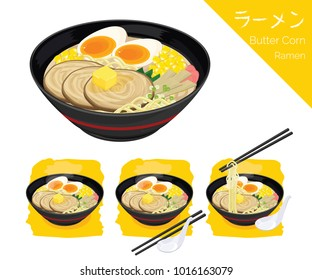 illustration Isometric Info graphic vector of Japanese food, ramen, Japanese noodle. Butter corn ramen.