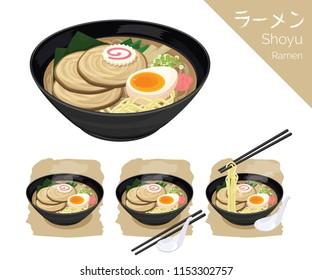 illustration Isometric Info graphic vector of Japanese food, ramen, Japanese noodle. Original ramen.