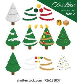 illustration Isometric Info graphic vector of Christmas tree.