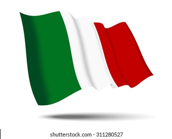 illustration italy flag waving Isolated on White Background,vector