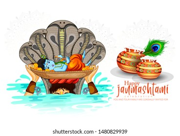 illustration of Janmashtami  festival  with Lord Krishna playing flute, pot,