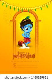 illustration of Janmashtami  festival  with Lord Krishna playing flute, pot,