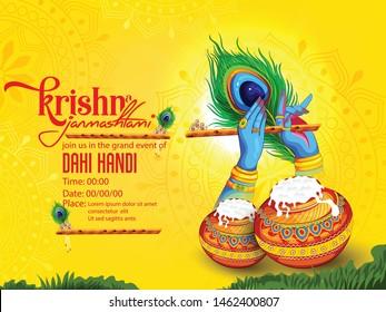 illustration of Janmashtami, Lord Krishna hand playing bansuri, peacock feather, flute, Pot of yoghurt, India festival