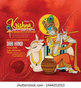 illustration of Janmashtami  Lord Krishna playing bansuri , religious festival of  hindu with background
