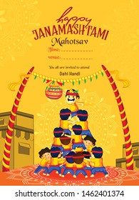 illustration of Janmashtami, playing dahi handi, peacock feather, flute, Pot of  India festival