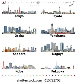 illustration of japanese cities skylines with location, navigation and travel icons; flag and map of Japan