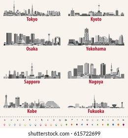 illustration of japanese city skylines in grey scales color palette with location, navigation and travel icons; flag and map of Japan