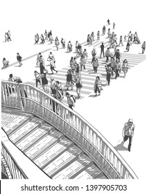 Illustration of Japanese city street with people crossing zebra during rush hour