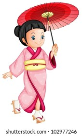 illustration of a japanese geisha
