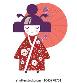 Illustration of a Japanese Girl in the form of a National Kokeshi doll in a kimono with floral decor and an umbrella. Ideal for textile design, baby prints, postcards. Vector illustration