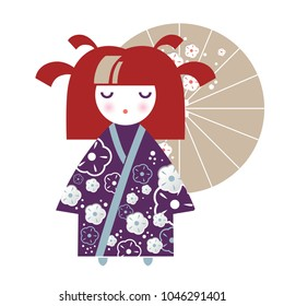 Illustration of a Japanese Girl in the form of a National Kokeshi doll in a kimono with floral decor and an umbrella. Ideal for textile design, baby prints, postcards