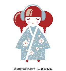Illustration of a Japanese Girl in the form of a National Kokeshi doll in a kimono with floral decor in earphones. Ideal for textile design, baby prints