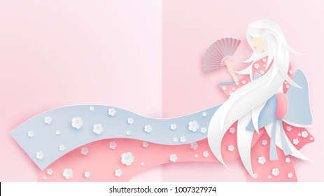 Illustration of Japanese girl wearing kimono costume with cherry blossoms pattern. Paper art style of Japanese girl wearing national dress. Paper art and craft style. vector.