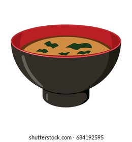 Illustration of Japanese miso soup with wakame seaweed