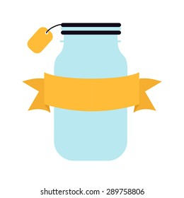 illustration jars with ribbon
