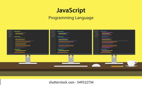 Illustration of JavaScript programming language code displayed on three monitor in a row at programmer workspace