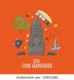 Illustration for Jeju-do island promotion: dol hareubang, also called tol harubang or Jeju Stone Grandfather. Famous Jeju Stone or Rock Statue.