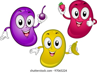 Illustration of Jellybean Mascots Holding Tiny Fruits