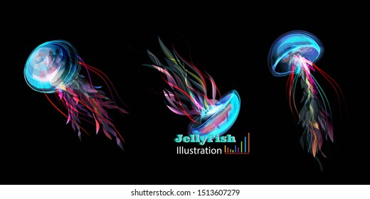 Illustration of jellyfishes. The objects isolated on black. Handdraw artwork.