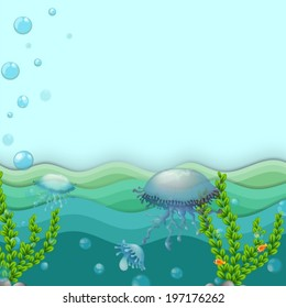 Illustration of the jellyfishes under the sea