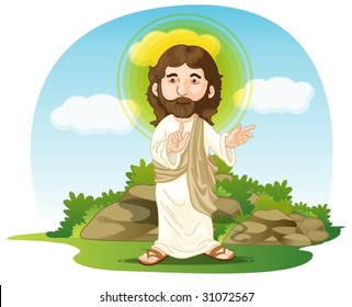 illustration of jesus christ on white and blue