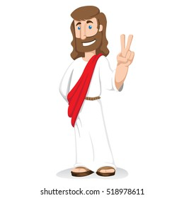 Illustration of Jesus Christ signaling peace and love, religion philosophy. Ideal for institutional and religious materials