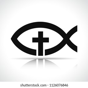 Illustration of jesus fish on white background
