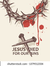 illustration of jesus nails with thorn crown and blood