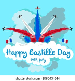 Illustration of jets flying in formation with copy space. Happy Bastille day.