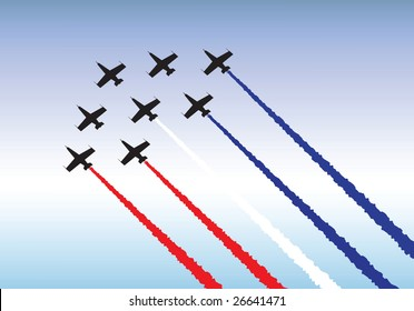 Illustration of jets flying in formation. Red, white and blue theme.