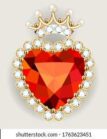 Illustration of a jewelry gold  brooch in the shape of a heart in a crown with pearls and precious stones