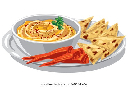 illustration of jewish dish humus with pita on plate