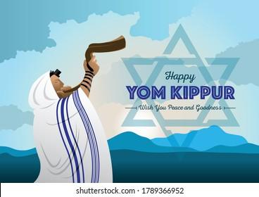 An illustration of Jewish man blowing the Shofar ram's horn on Rosh Hashanah and Yom Kippur celebration day