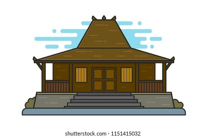 Illustration of Joglo house, traditional house from central Java, Indonesia. EPS vector format that can be resized without losing quality