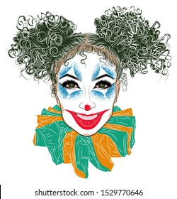 Illustration with joker girl with green curly hair. Best poster for halloween party. Perfect makeup look. Scary clown mask. Woman's eyes, eyelashes and eyebrows. Tattoo design.