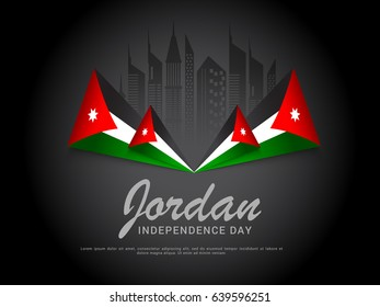 Illustration Of Jordan Independence Day Background.