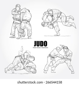 illustration of Judo. Hand drawn.