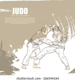 illustration of Judo. Hand drawn.