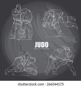 illustration of Judo on chalkboard. Hand drawn.
