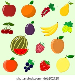 Illustration of juicy and ripe fruits and berries in a set. / Fruits and berries collected in a set.