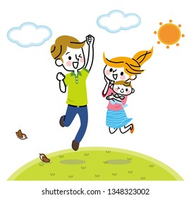 Illustration of a jumping family.