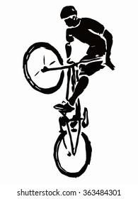 illustration jumping rider on a bike . grunge sketch.white background