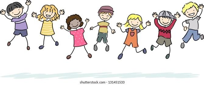 Illustration of Jumping Stickman Kids