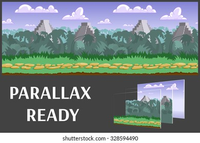 Illustration of a jungle landscape ,with green jungle, vector unending background with separated layers for game.