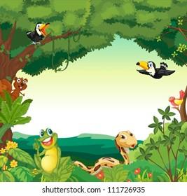 Illustration of a jungle scene