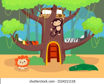 Illustration of a Jungle Themed Bedroom for Kids with Three Beds on a Tree and Stuffed Toys of a Monkey, Lion and Alligator