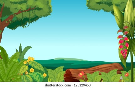 Illustration of the jungle with trees and plants