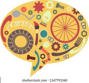 Illustration of Junk Art Inside a Speech Bubble. Recycling. Junkyard