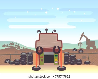Illustration of a Junk Shop Entrance into its Junkyard with Cars and Tires Inside